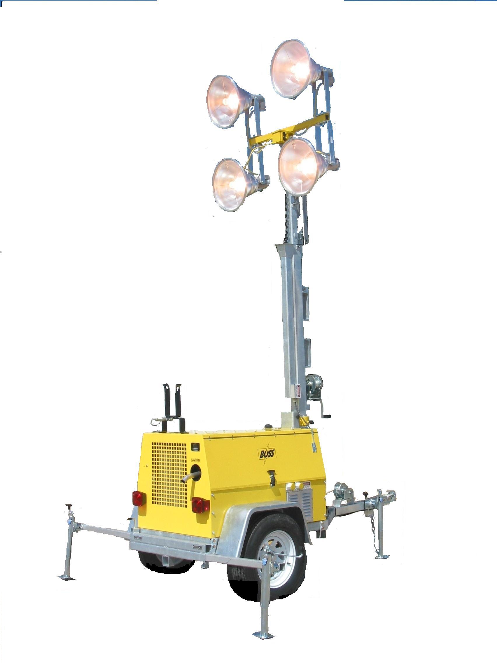 RNT: R&I-BTK64MH-30′: Turn-a-Round Standard Light Tower, 30′ Tower, 4-1000W Floodlights, 6KW Diesel, Trailer Mounted